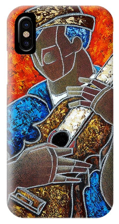 Puerto Rico IPhone X Case featuring the painting Solo De Cuatro by Oscar Ortiz