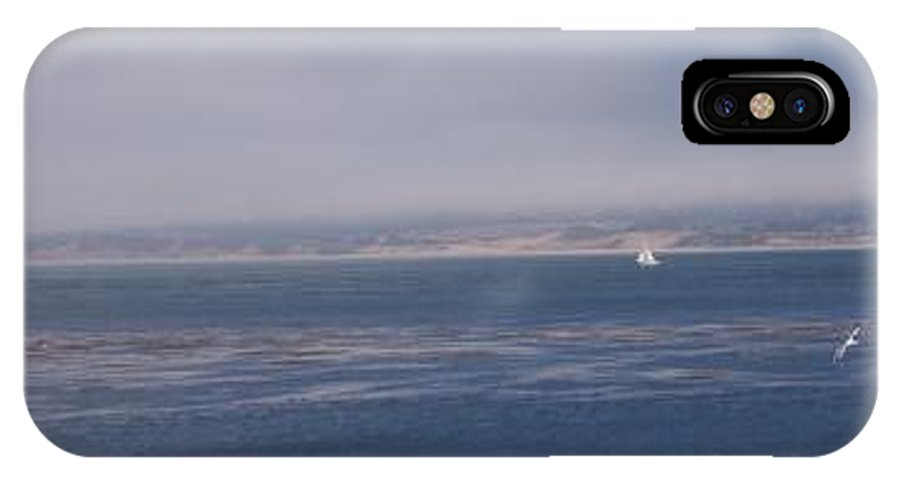 Sailing Outdoors Sail Ocean Monterey Bay Sea Seascape Boat Shoreline Sky Pacific Nature California IPhone X Case featuring the photograph Solo Sail In Monterey Bay by Pharris Art
