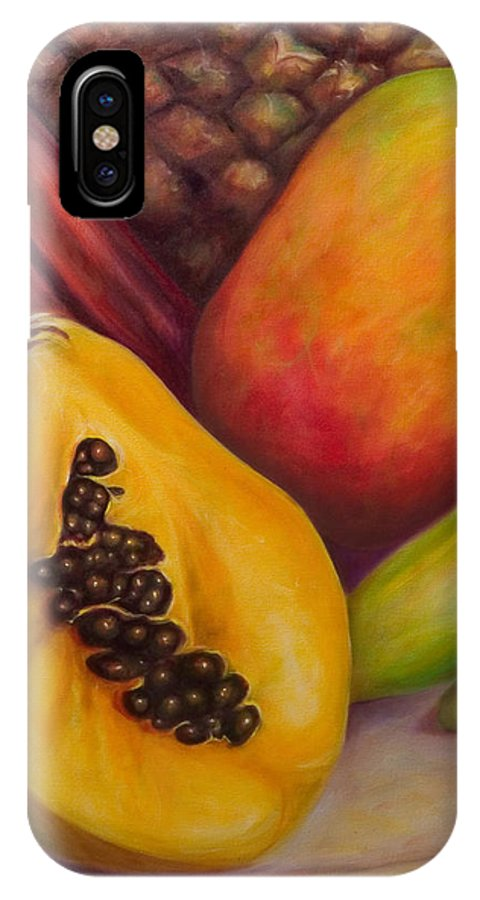 Tropical Fruit Still Life: Mangoes IPhone X Case featuring the painting Solo by Shannon Grissom