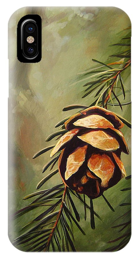 Closeup Of Spruce Cone IPhone X Case featuring the painting Solstice by Hunter Jay