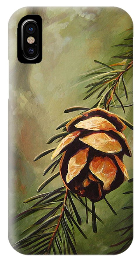 Closeup Of Spruce Cone IPhone X / XS Case featuring the painting Solstice by Hunter Jay