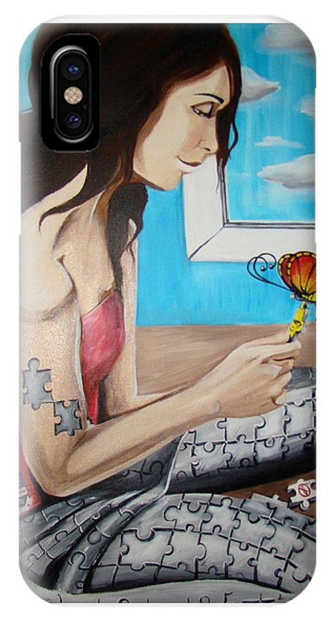 Blue IPhone Case featuring the painting Solving The Puzzle by Meline Davalos