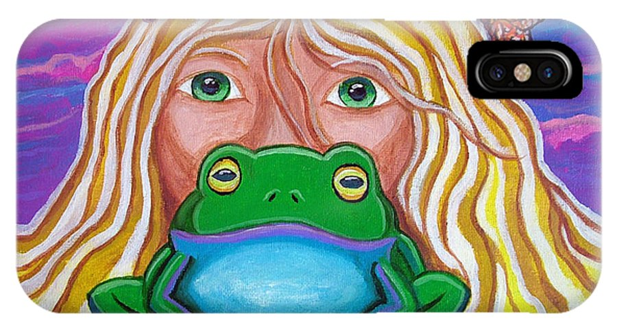 Frog IPhone X Case featuring the painting Somebody's Prince by Nick Gustafson