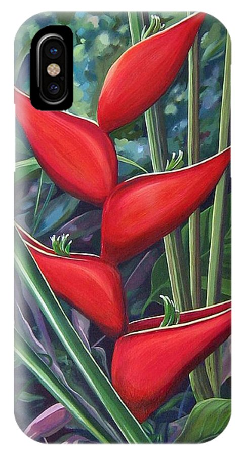 Heliconia IPhone X / XS Case featuring the painting Something In Red by Hunter Jay