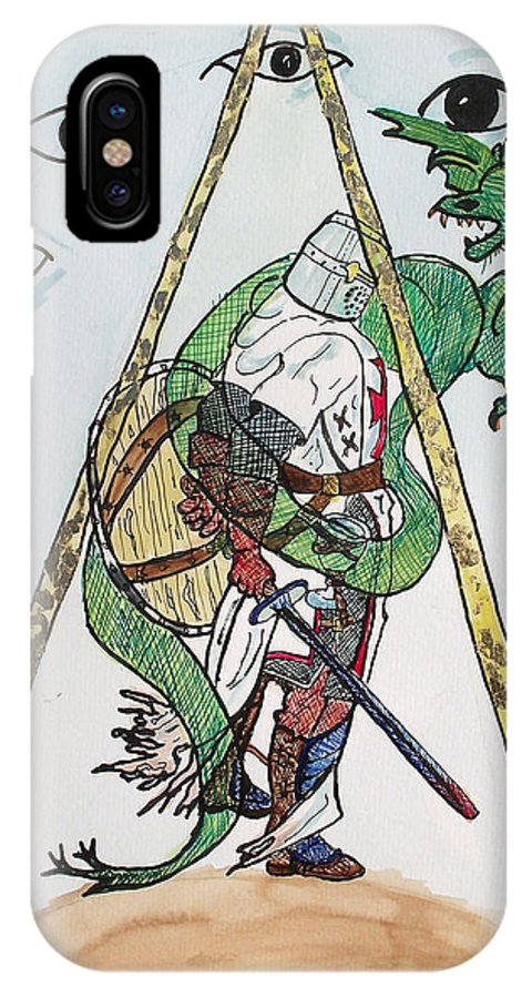 Knights IPhone X Case featuring the painting Sometimes The Dragon Wins by Arlene Wright-Correll