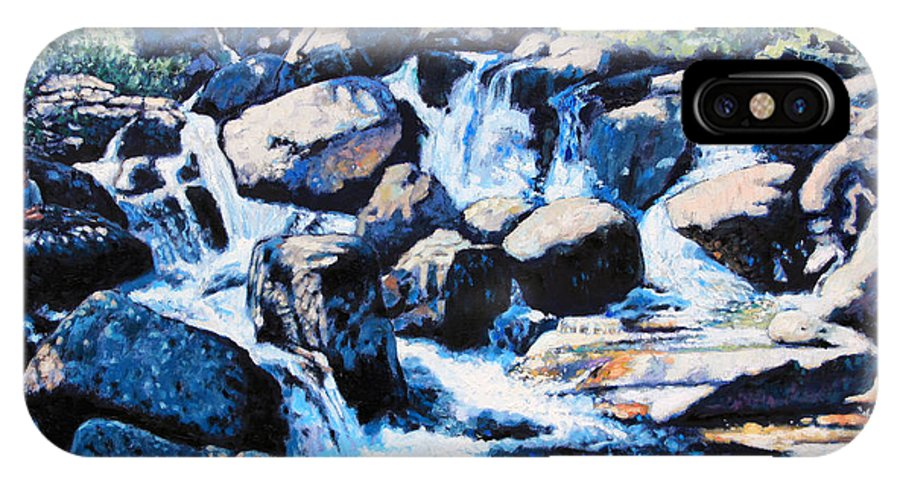 Rocky Mountains IPhone X Case featuring the painting Somewhere in the Rocky Mountains by John Lautermilch