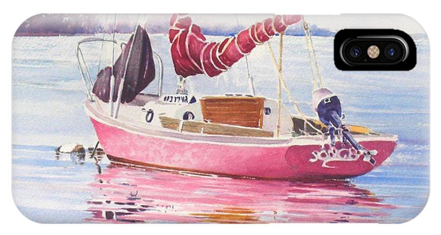 Sailboat IPhone X Case featuring the painting Songbird At Rest by Tom Harris
