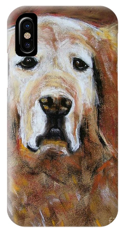 Golden IPhone X Case featuring the painting Sonny by Frances Marino