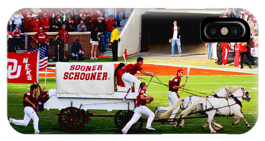 Oklahoma IPhone X Case featuring the photograph Sooner Schooner by Gary Clem