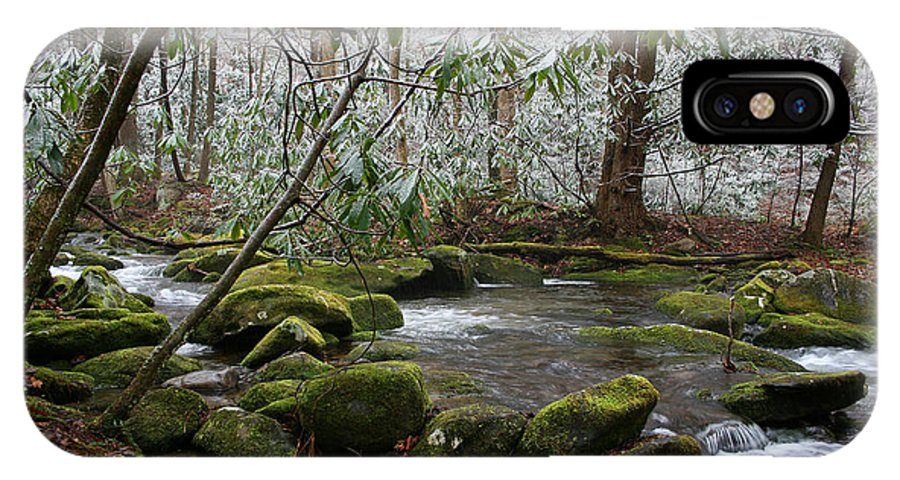 River Stream Creek Water Nature Rock Rocks Tree Trees Winter Snow Peaceful White Green Flowing Flow IPhone X Case featuring the photograph Soothing by Andrei Shliakhau