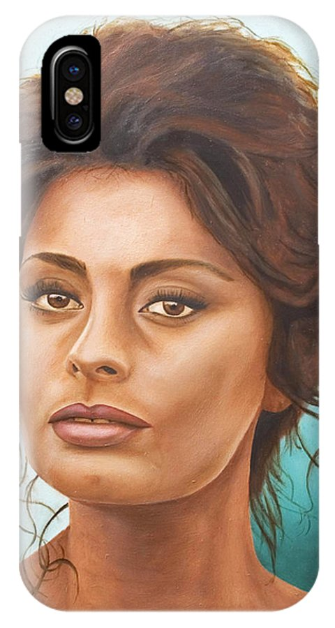 Moviestar IPhone X Case featuring the painting Sophia Loren by Rob De Vries