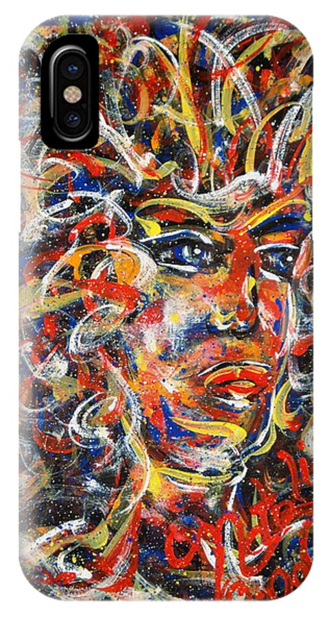 Free Expressionism IPhone X Case featuring the painting Sophia by Natalie Holland