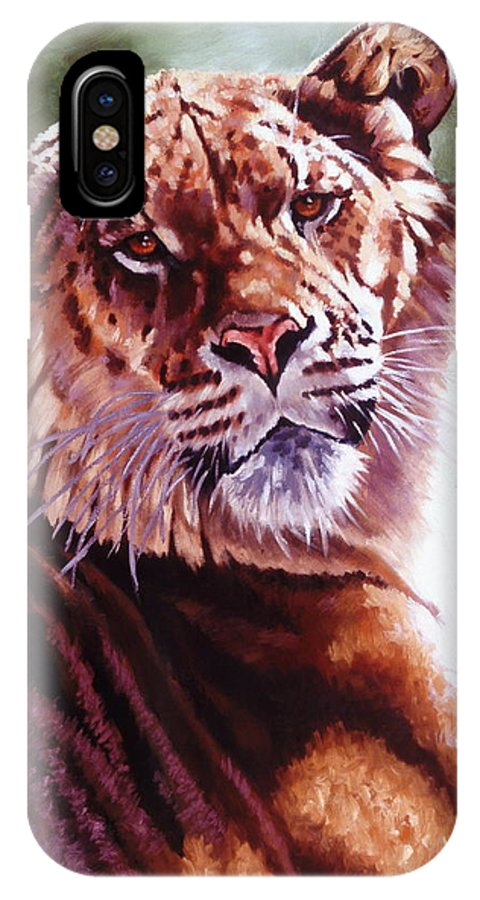 Hybrid IPhone X Case featuring the painting Sophie The Liger by Barbara Keith