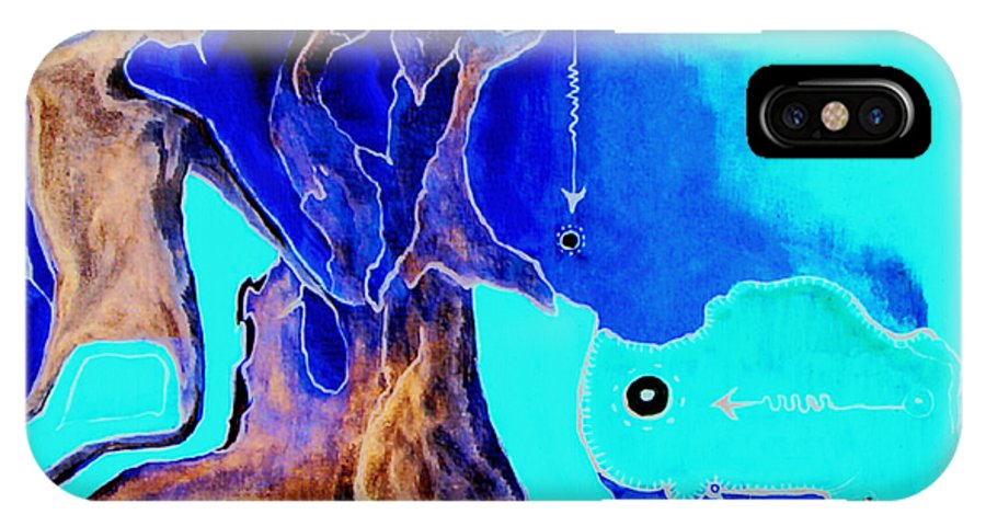 Game Direction Abstract Red Man IPhone X Case featuring the painting Sophogame by Veronica Jackson