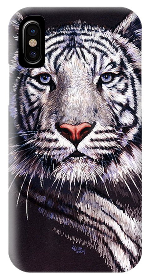 Tiger IPhone X Case featuring the drawing Sorcerer by Barbara Keith