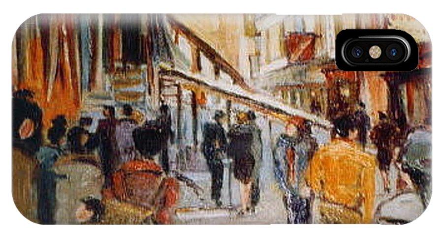 Souk IPhone X Case featuring the painting Souk De Buci by Walter Casaravilla