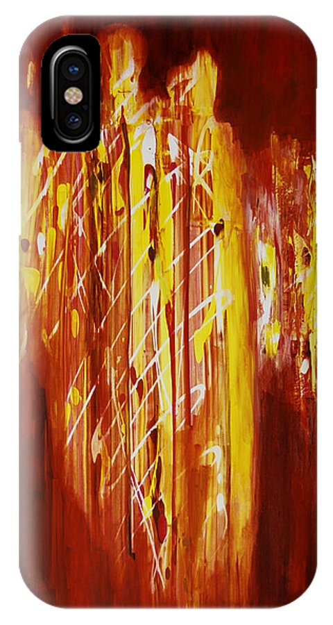 Abstract IPhone X Case featuring the painting Soul Train by Tara Moorman