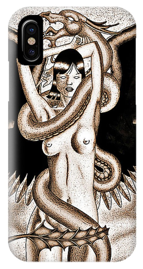 Fantasy IPhone X Case featuring the digital art Souls Entwined Antiqued by Robert Ball