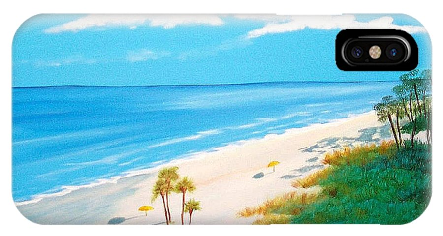 Beach IPhone X Case featuring the painting South Carolina Beach by Nancy Nuce
