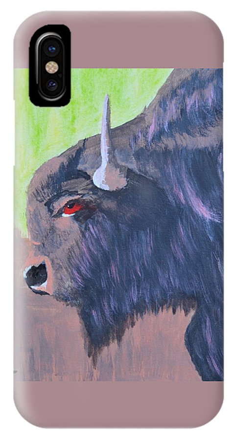 South Dakota Bison IPhone X Case featuring the painting South Dakota Bison by Warren Thompson