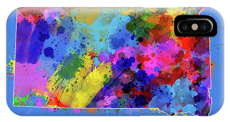 South Dakota IPhone X Case featuring the digital art South Dakota Map Color Splatter 3 by Bekim Art