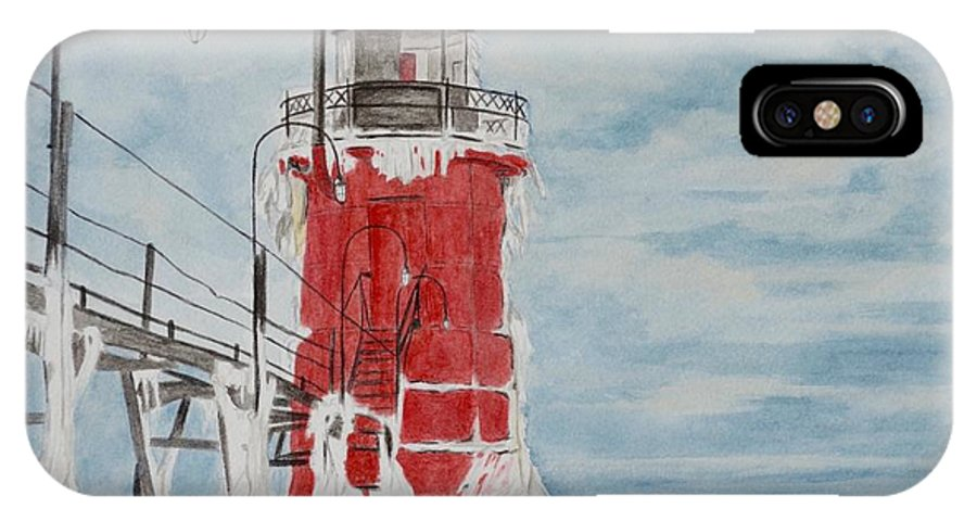 Lighthouse IPhone X Case featuring the painting South Haven Lighthouse, South Have, Michigan by Regan J Smith