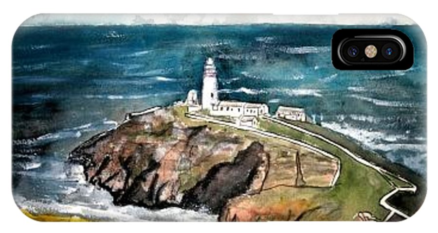 South Stack Lighthouse IPhone X Case featuring the painting South Stack Lighthouse by Derek Mccrea