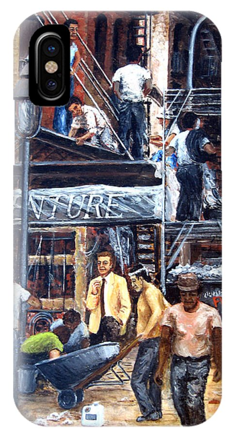 People IPhone Case featuring the painting South Street Seaport by Leonardo Ruggieri