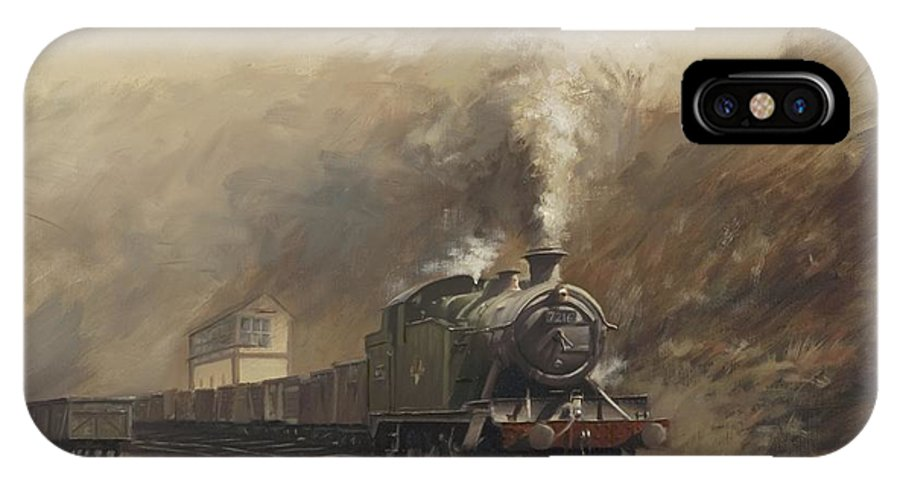 Steam IPhone Case featuring the painting South Wales Coal Train by Richard Picton
