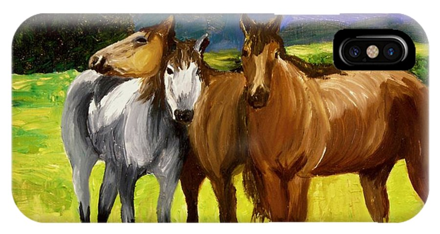 Horses IPhone X Case featuring the painting Southern Boys by Michael Lee