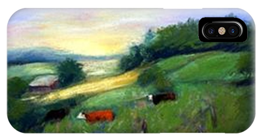 Landscape IPhone X Case featuring the painting Southern Ohio Farm by Gail Kirtz