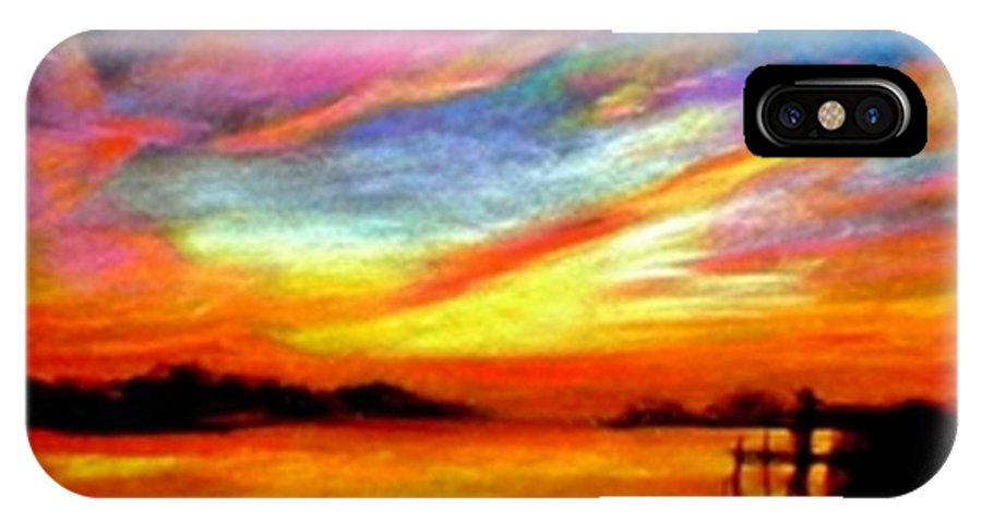 Sunset IPhone X Case featuring the painting Southern Sunset by Gail Kirtz