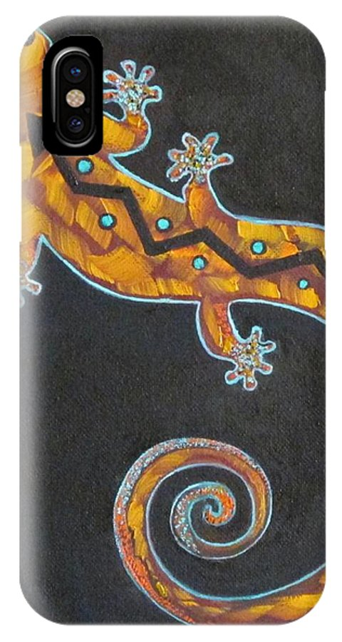 Lizard IPhone X Case featuring the painting Southwest Lizard by Judy Lybrand