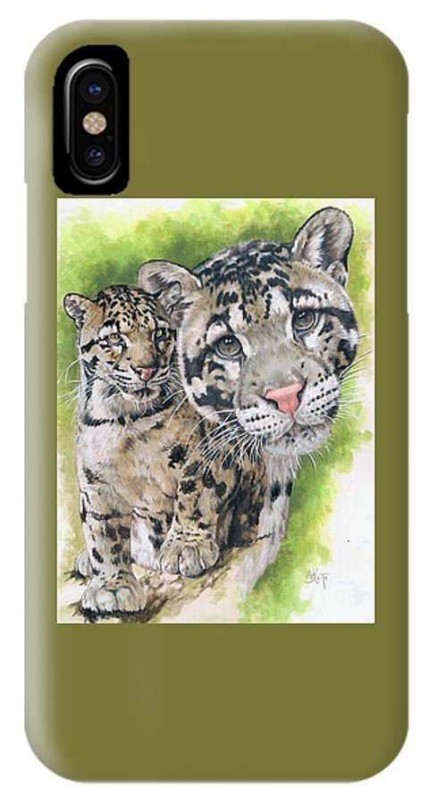Clouded Leopard IPhone X Case featuring the mixed media Sovereignty by Barbara Keith