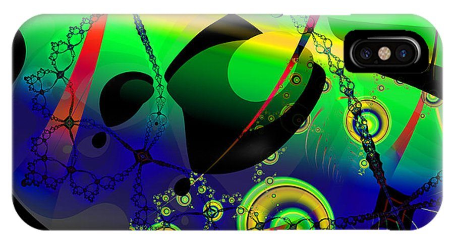 Fractal IPhone X / XS Case featuring the digital art Space Carnival by Frederic Durville