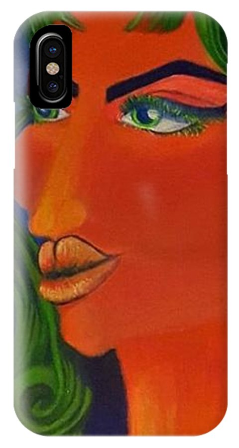 Space Queen IPhone X Case featuring the painting Space Queen by Bonnie Blanco