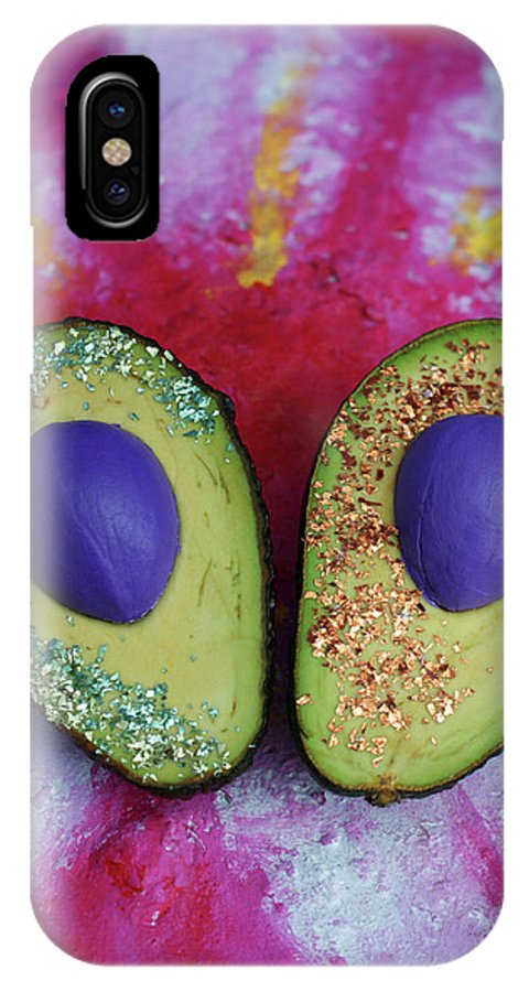 Spaceocados Space Avocado IPhone X Case featuring the mixed media Spaceocados 1 by Judy Henninger