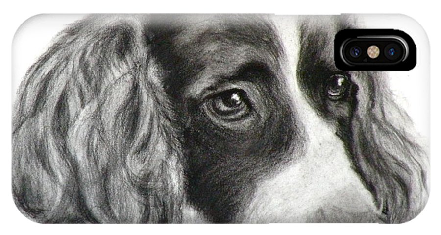 Dogs IPhone X Case featuring the painting Spaniel Drawing by Susan A Becker