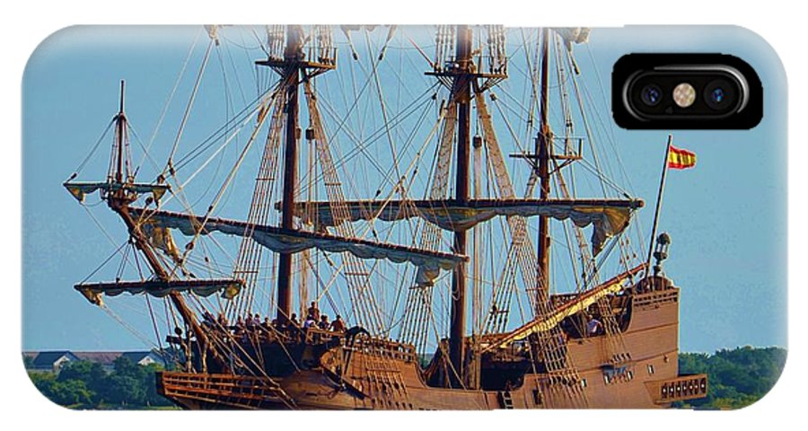 Blue IPhone X / XS Case featuring the photograph Spanish Galleon by Bob Sample