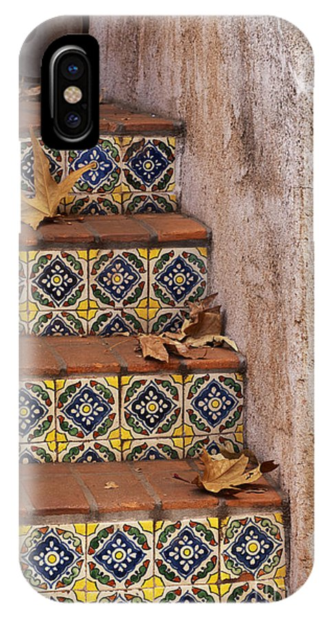 Southwest IPhone X Case featuring the photograph Spanish Tile Stair by Sandra Bronstein