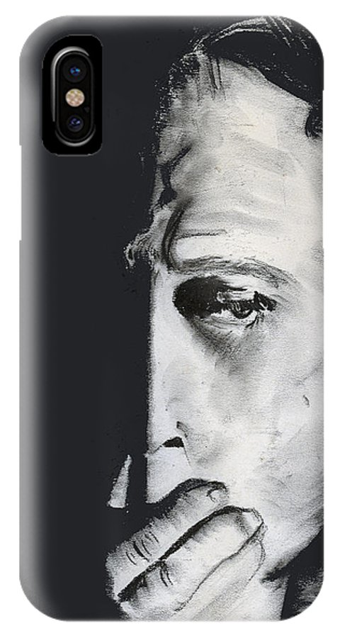 Man IPhone X Case featuring the pastel Speak No Evil by Arline Wagner
