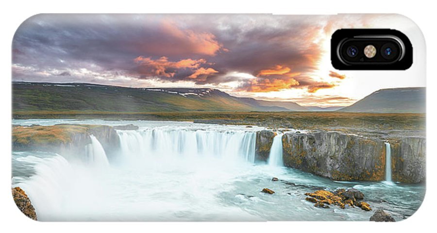 Landscape IPhone X Case featuring the photograph Spectacular Godafoss by Siddhartha De