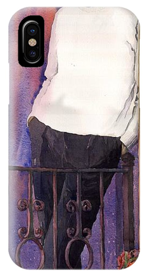 Watercolour IPhone X Case featuring the painting Spenser 01 by Yuriy Shevchuk
