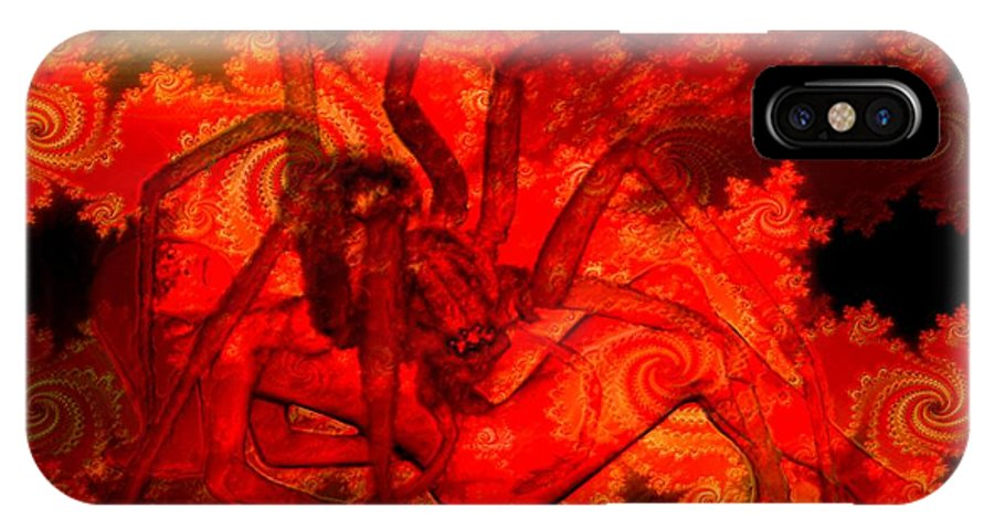Spider IPhone Case featuring the digital art Spider Catches Virgin In Space by Helmut Rottler