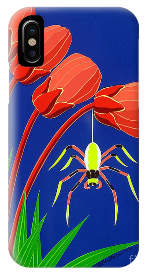 Nature IPhone X Case featuring the drawing Spider by Lucyna A M Green