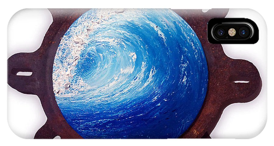 Wave IPhone X Case featuring the painting Spin Wave by Michelle Wardley