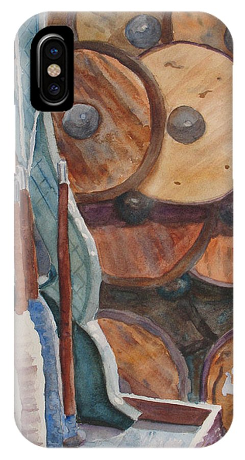 Factory IPhone X Case featuring the painting Spindles And Spools by Jenny Armitage