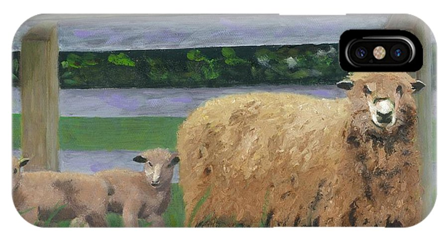 Sheep Lambs Countryside Farm Spring IPhone X Case featuring the painting Sping Lambs by Paula Emery