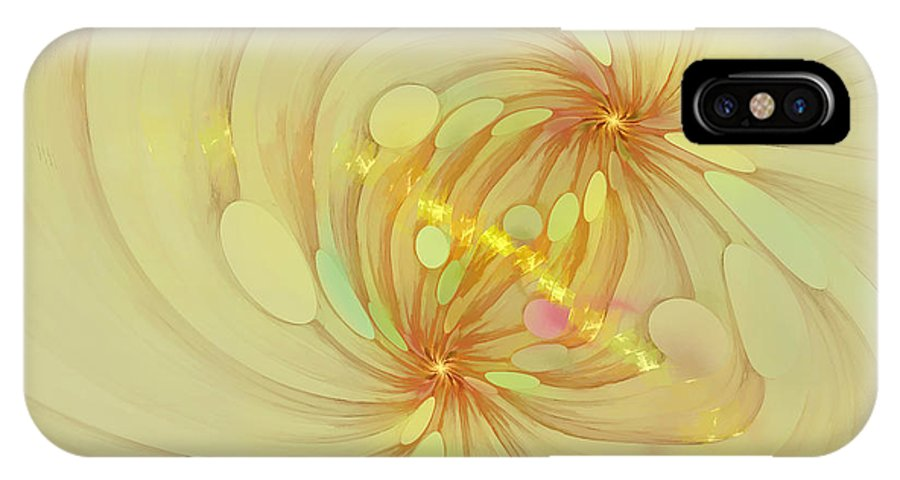 Fractal IPhone X Case featuring the digital art Spiral Mind Connection by Deborah Benoit