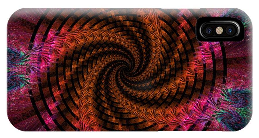 Digital IPhone X Case featuring the digital art Spiraling Into The Abyss by Deborah Benoit